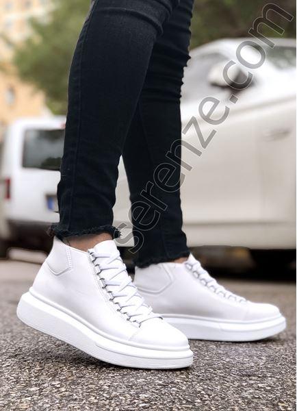 Bot model Yüksek Taban Beyaz Erkek Ayakkabı