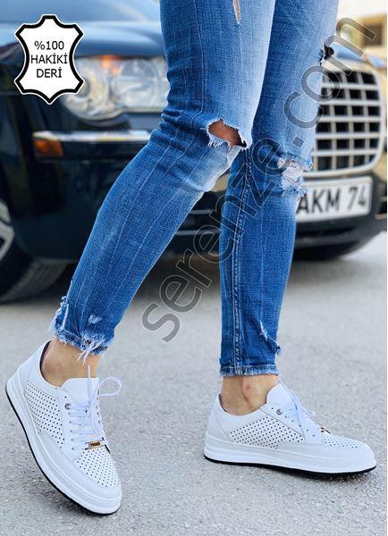 Beyaz Hakiki Deri Delik Tasarım Erkek Spor Ayakkabı