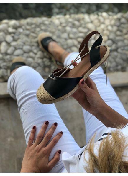 Hasır Detay Siyah Babet Ayakkabı