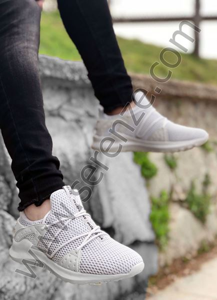 Gri Bağcık Detay Fileli Erkek Spor Ayakkabı