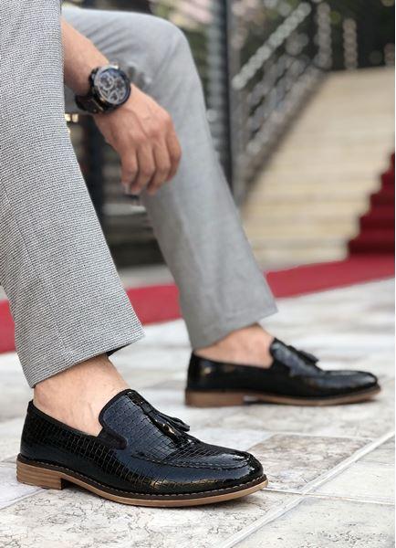Püsküllü Rugan Deri Tarz Klasik Erkek Ayakkabı