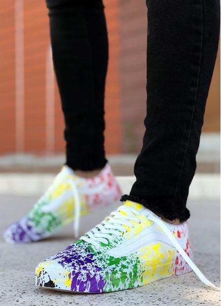 Serenze Tirana Renkli Boya Baskılı Tasarım Erkek Spor Ayakkabı