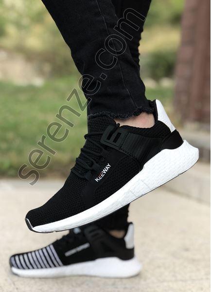 Siyah Çizgi Desen Triko Erkek Spor Ayakkabı