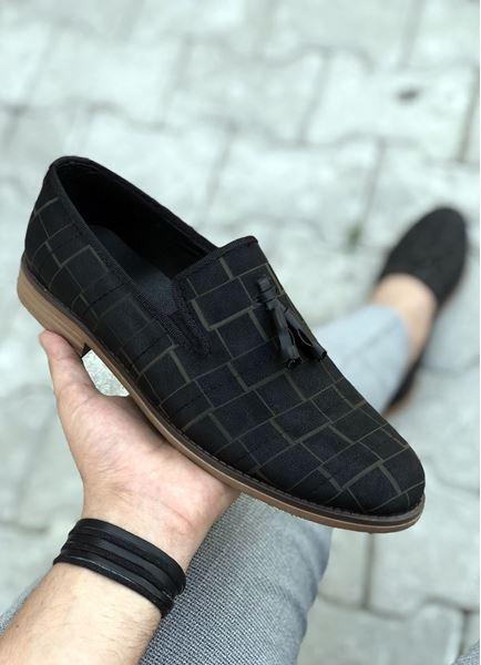 Siyah Kahve Desen Klasik Ayakkabı