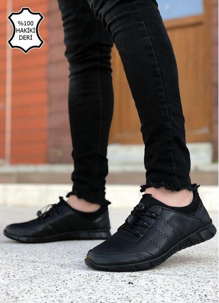Siyah Hakiki Deri Ortopedik Erkek Günlük Ayakkabı