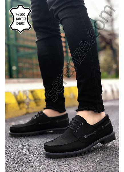 Siyah Nubuk Hakiki Dana Derisi Erkek Klasik Ayakkabı