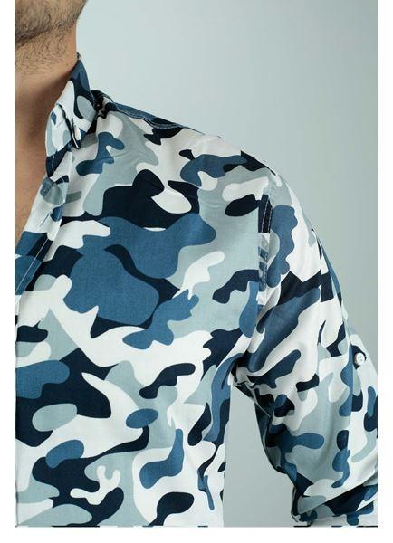Beyaz Mavi Kamuflaj Gömlek