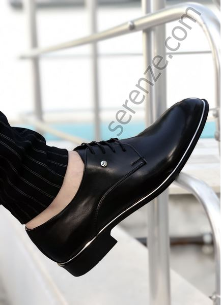 Siyah Mat Gümüş Detay Erkek Klasik Ayakkabı