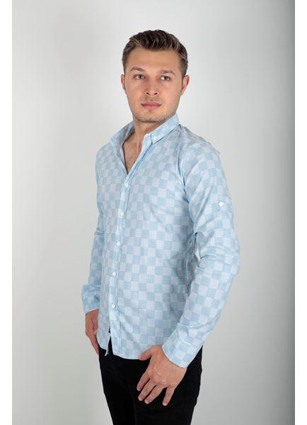 Kare Desen Mavi Gömlek