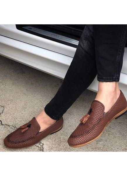 Püsküllü Taba Deri Tarz Klasik Erkek Ayakkabı