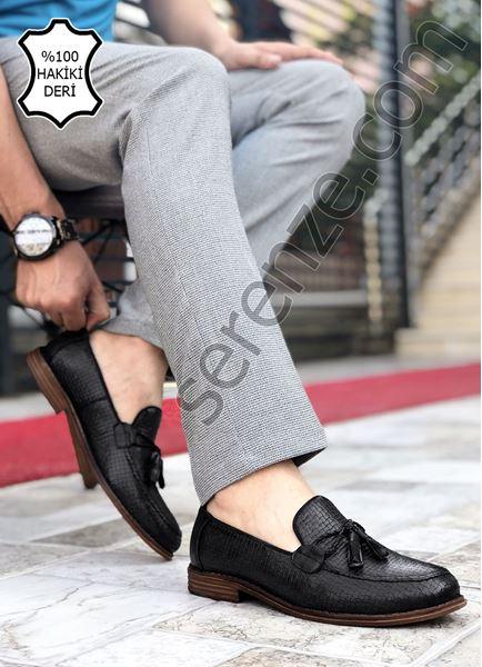 Siyah Desenli Hakiki Deri Erkek Klasik Ayakkabı