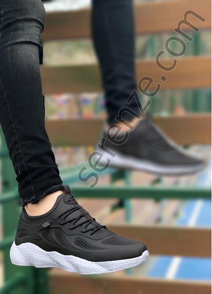 Siyah Beyaz Grid Desen Fileli Erkek Spor Ayakkabı