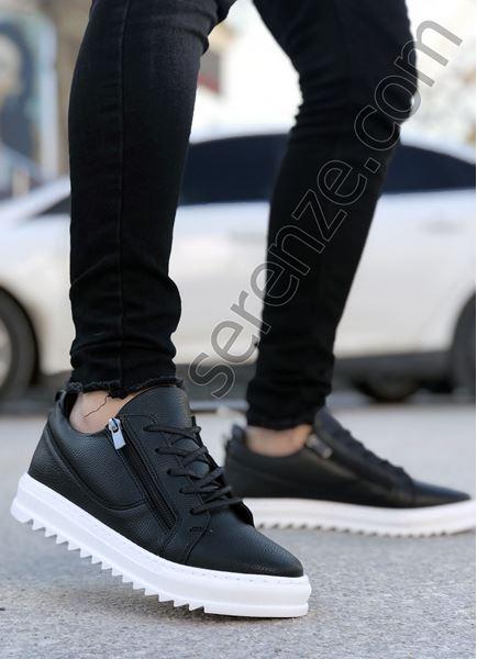 Siyah Çift Fermuar Erkek Günlük Ayakkabı