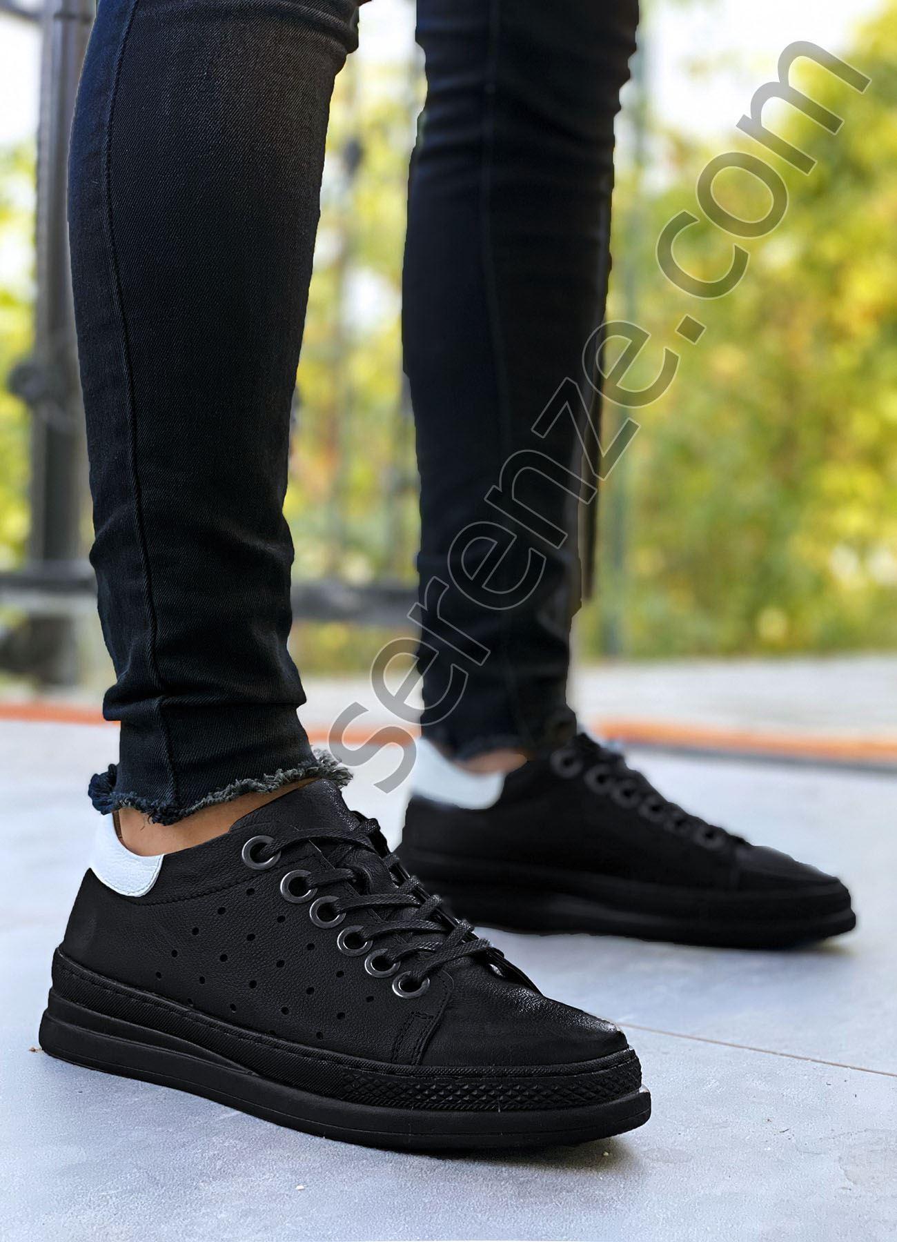Siyah Hakiki Deri Tasarım Erkek Spor Ayakkabı
