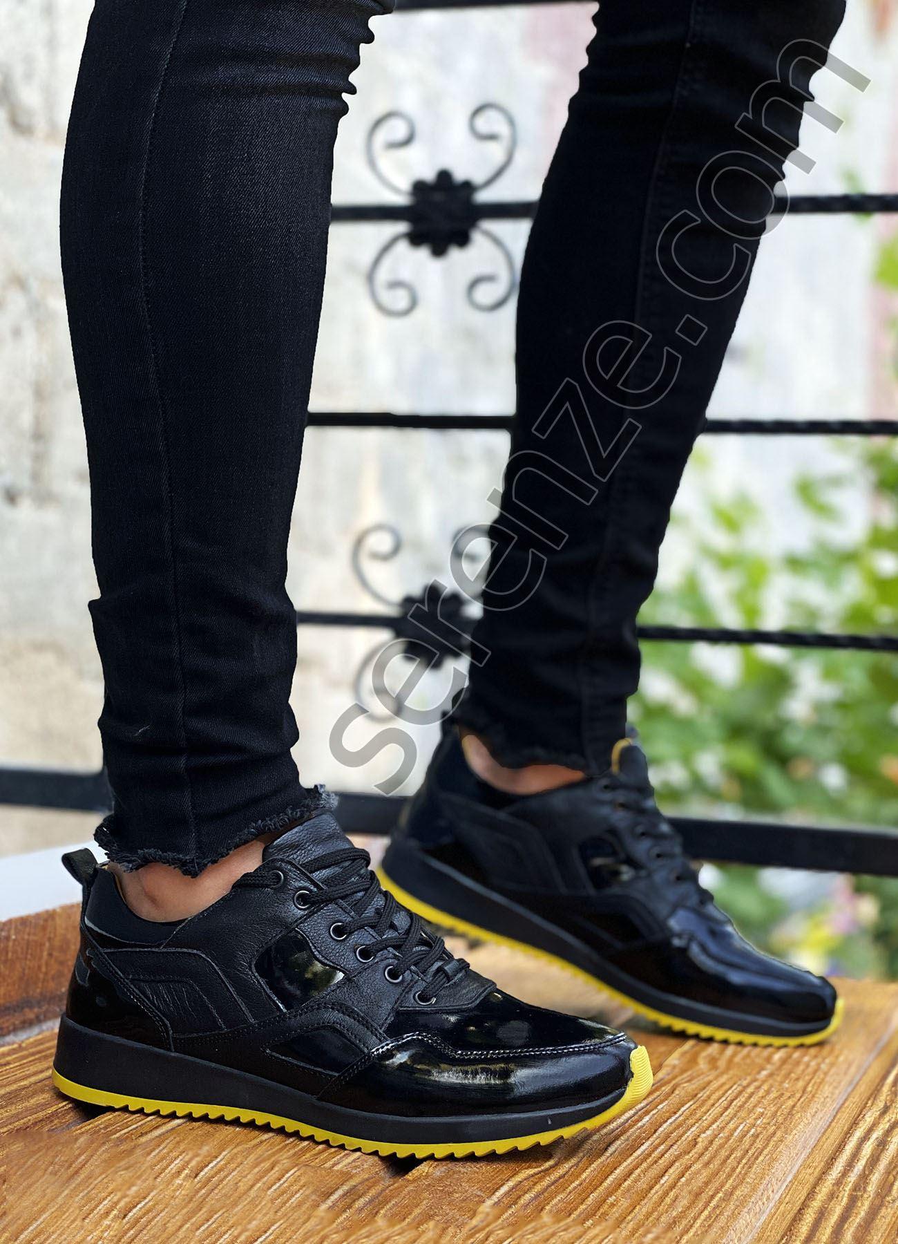 Siyah Sarı Hakiki Deri Rugan Erkek Spor Ayakkabı