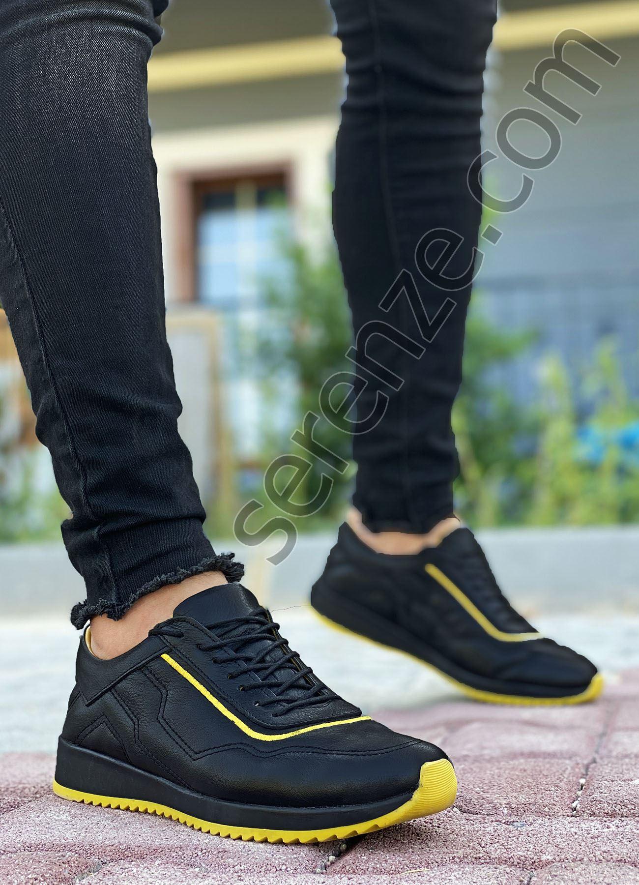 Siyah Sarı Hakiki Deri Erkek Spor Ayakkabı