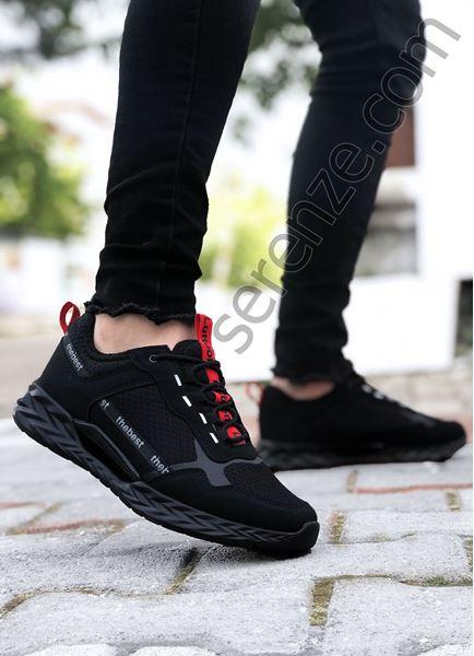 Siyah Kırmızı Yazı Detay Erkek Spor Ayakkabı