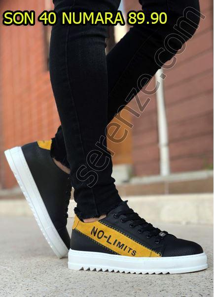 Siyah Sarı Yazı Detay Beyaz Erkek Spor Ayakkabı