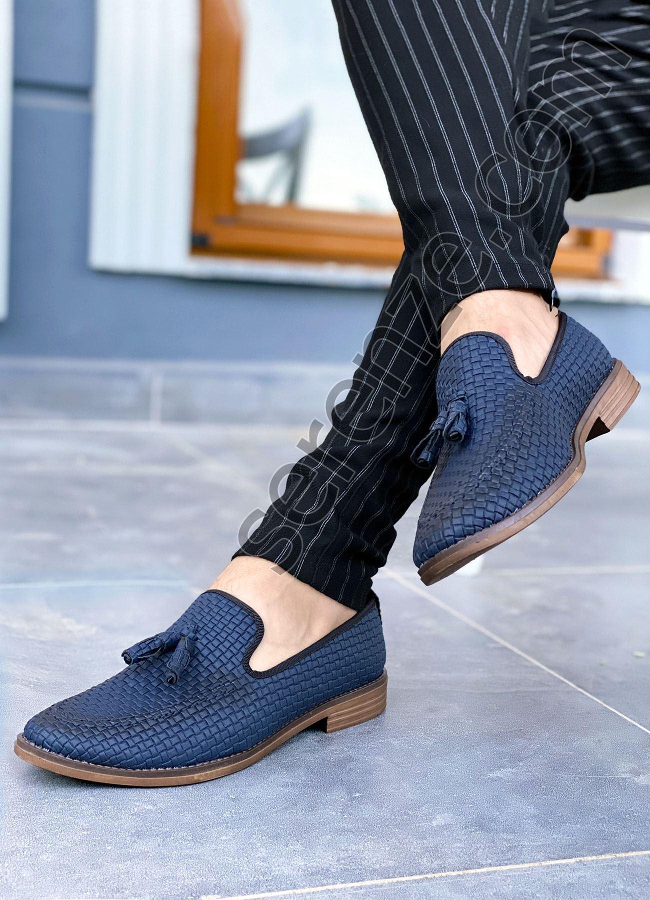 Püsküllü Lacivert Deri Tarz Klasik Erkek Ayakkabı