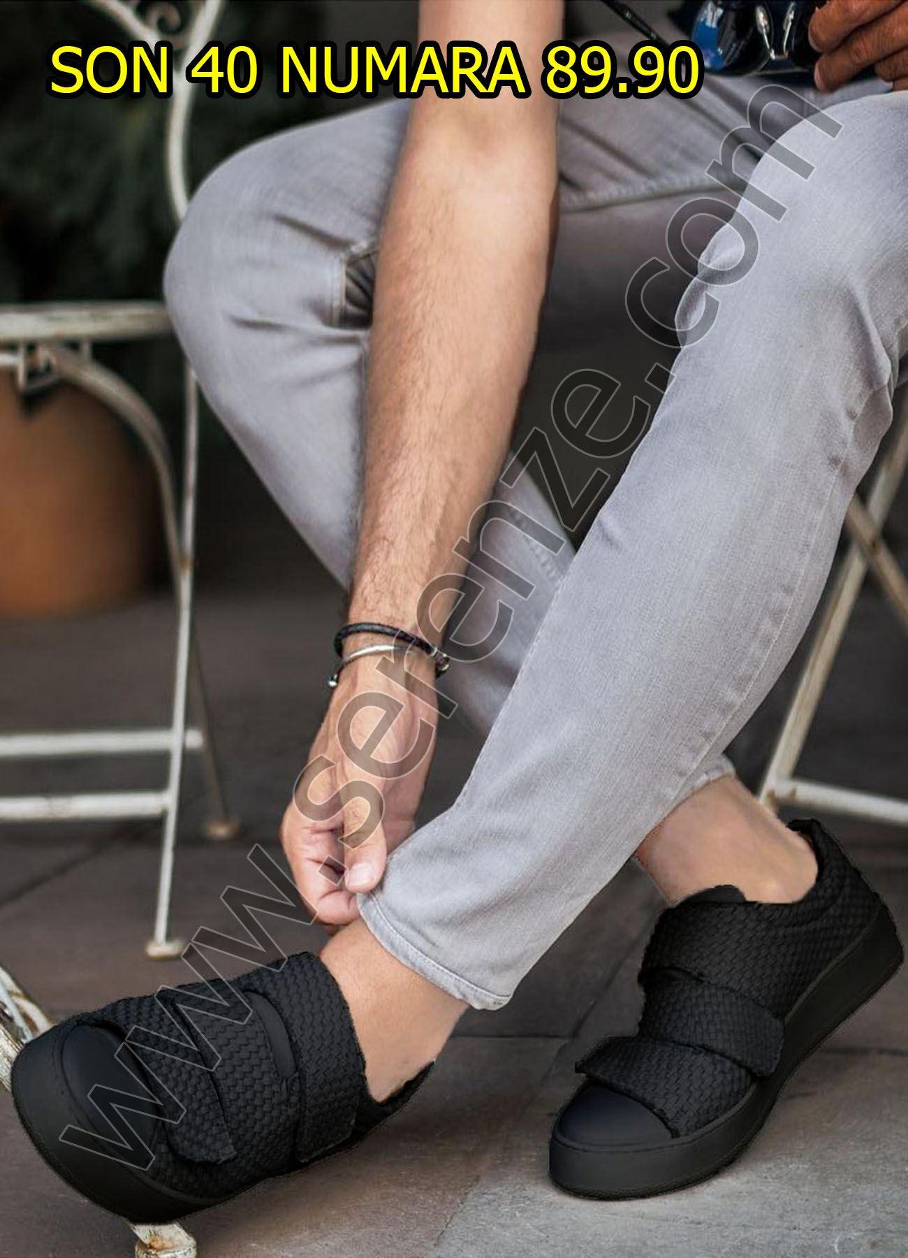 Siyah Cırtcırtlı Tasarım Siyah Erkek Ayakkabı