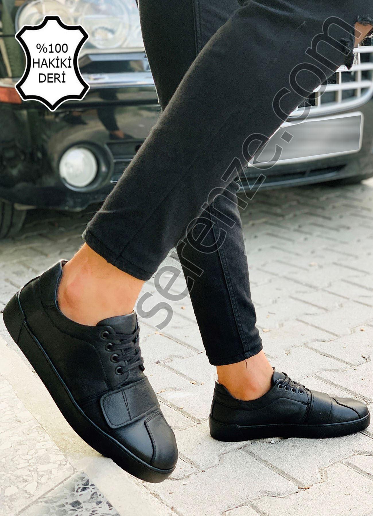 Siyah Cırtlı Hakiki Deri Erkek Ayakkabı