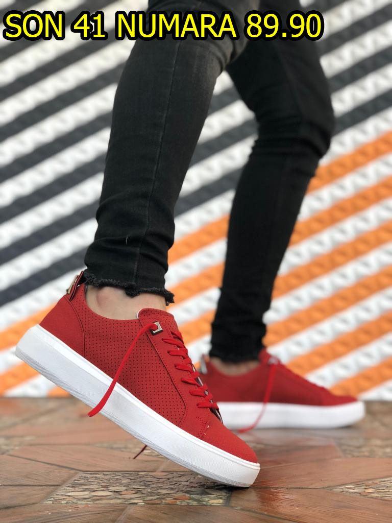 Kırmızı Süet Delikli Erkek Günlük Spor Ayakkabı