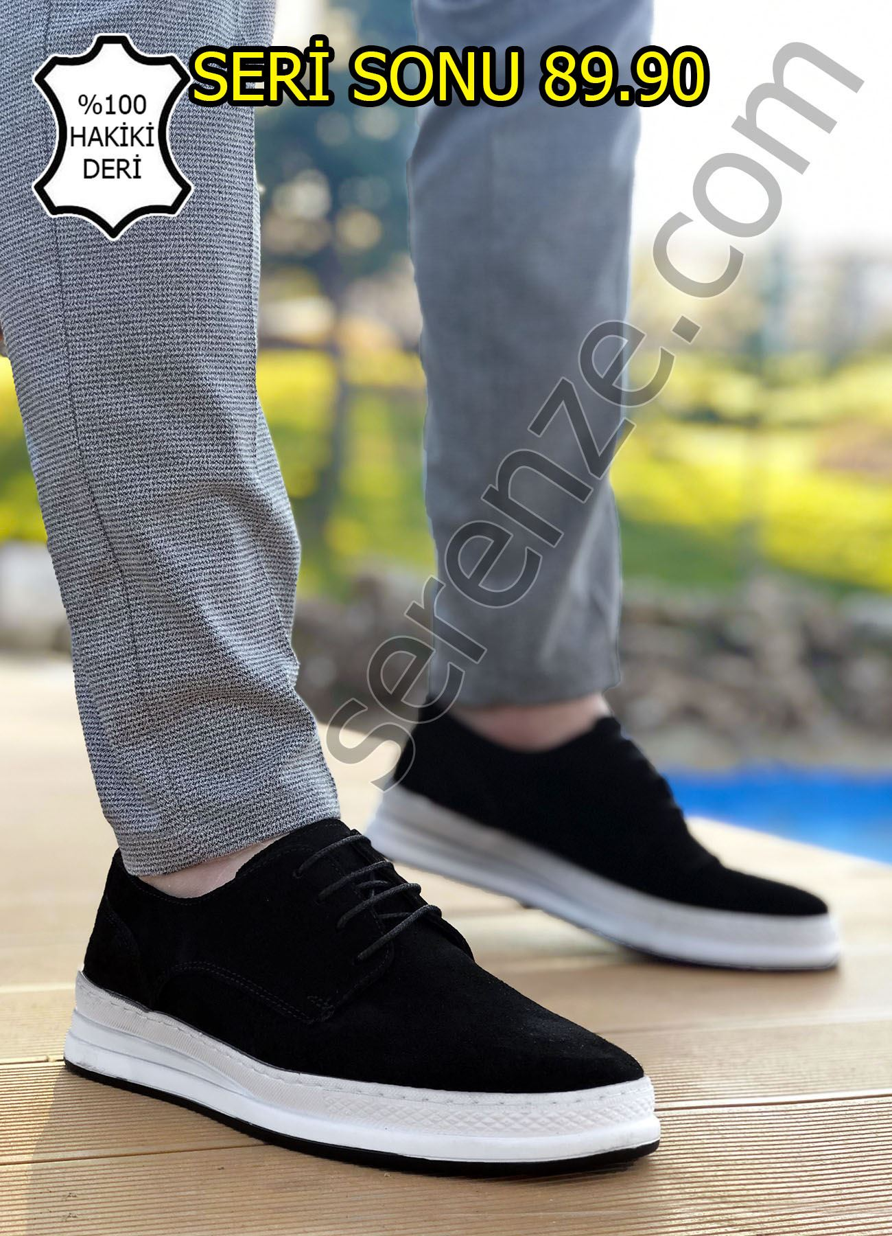Siyah Süet Hakiki Deri Bağcıklı Erkek Klasik Ayakkabı