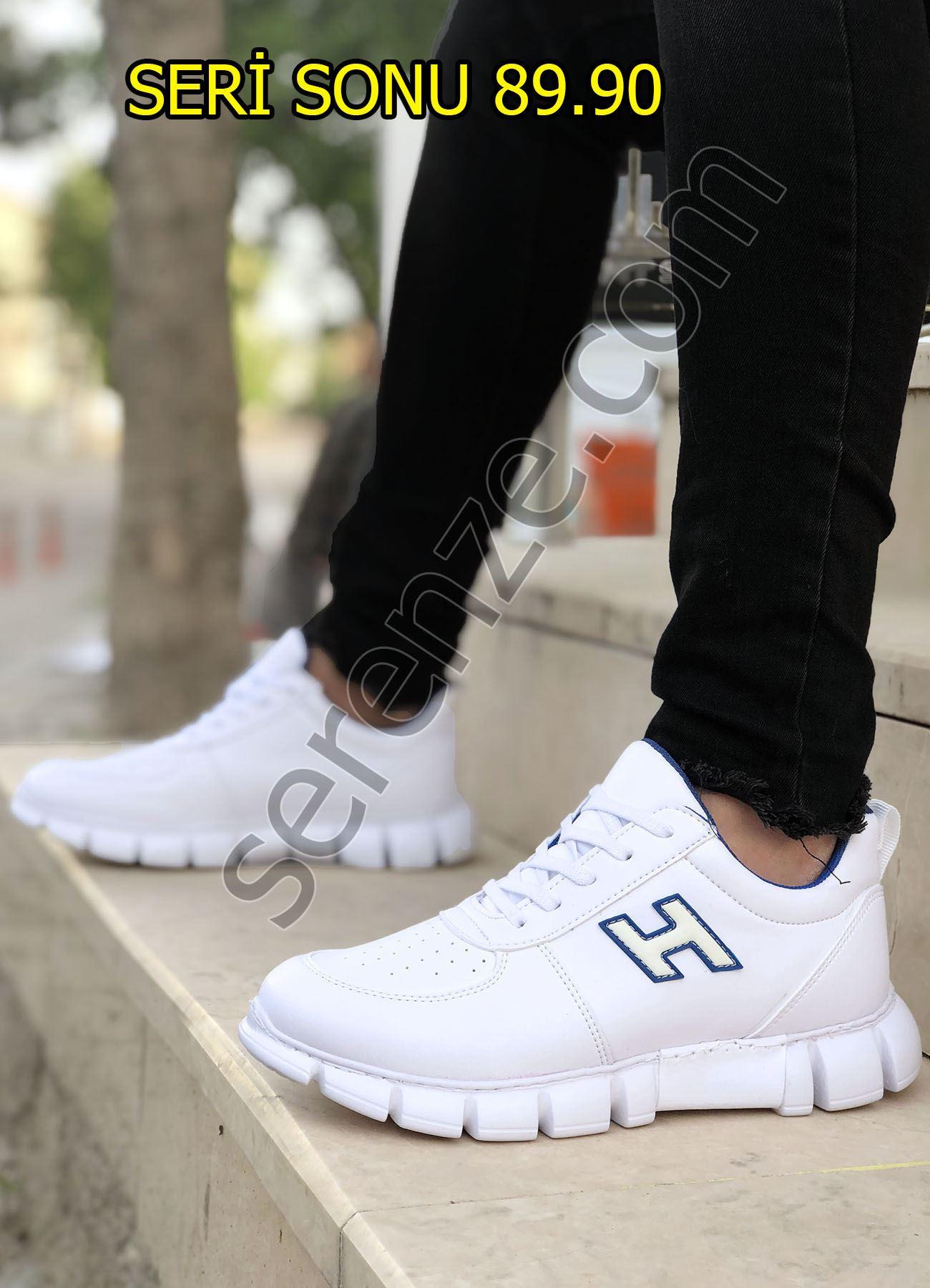 Beyaz Bağcıklı Erkek Spor Ayakkabı