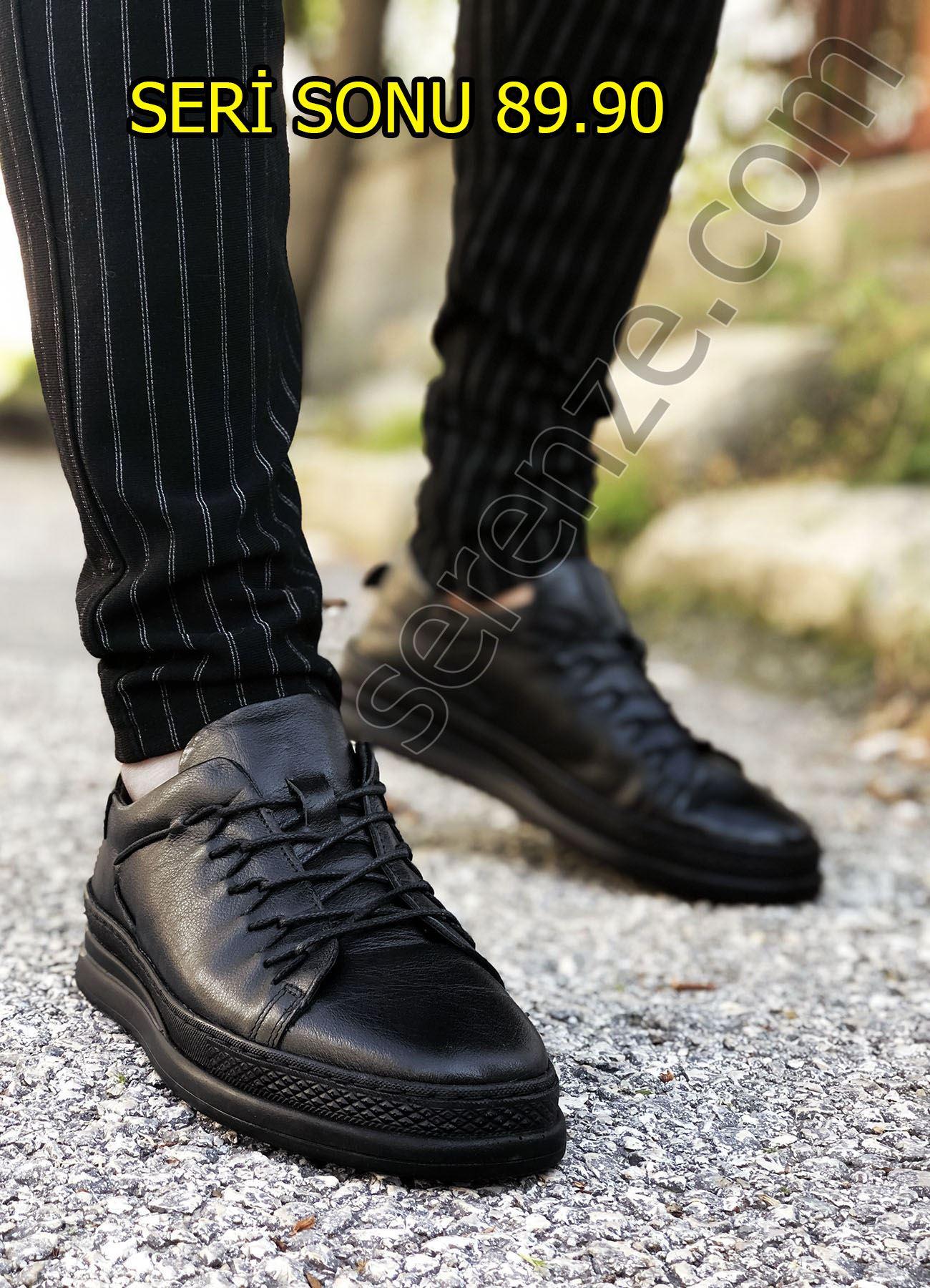 Siyah Hakiki Deri Lastikli Erkek Spor Ayakkabı