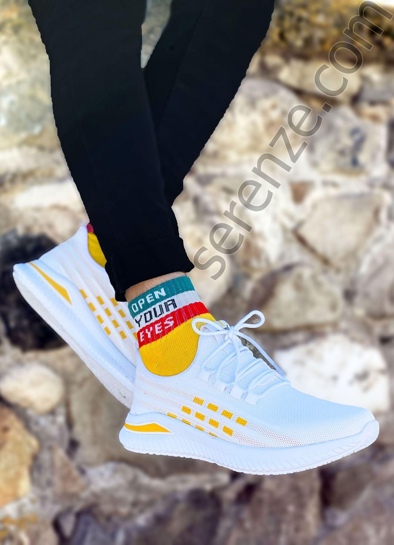 Beyaz Kare Desen Triko Erkek Spor Ayakkabı