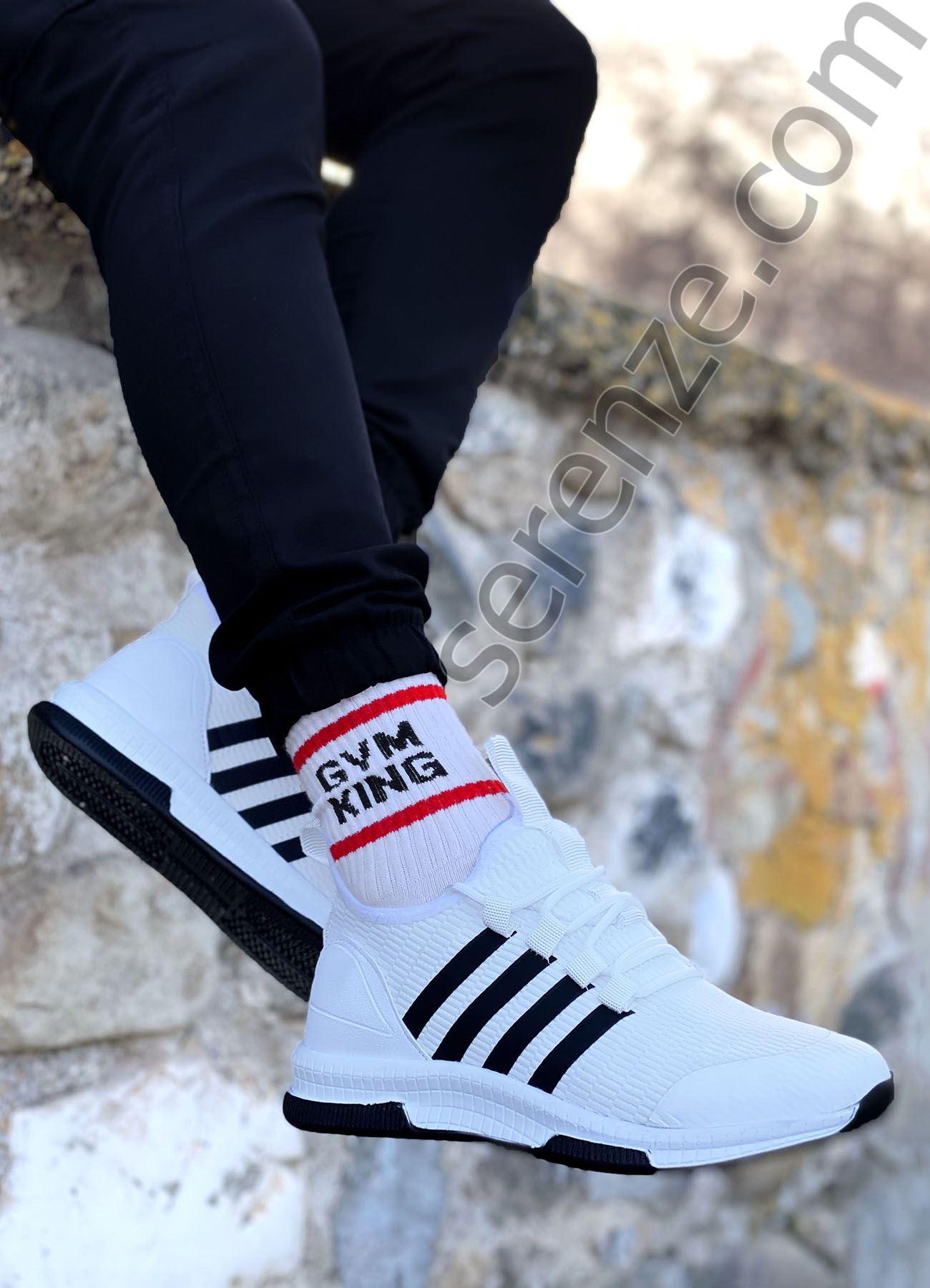 Beyaz Çizgili Ultra Hafif Triko Erkek Spor Ayakkabı