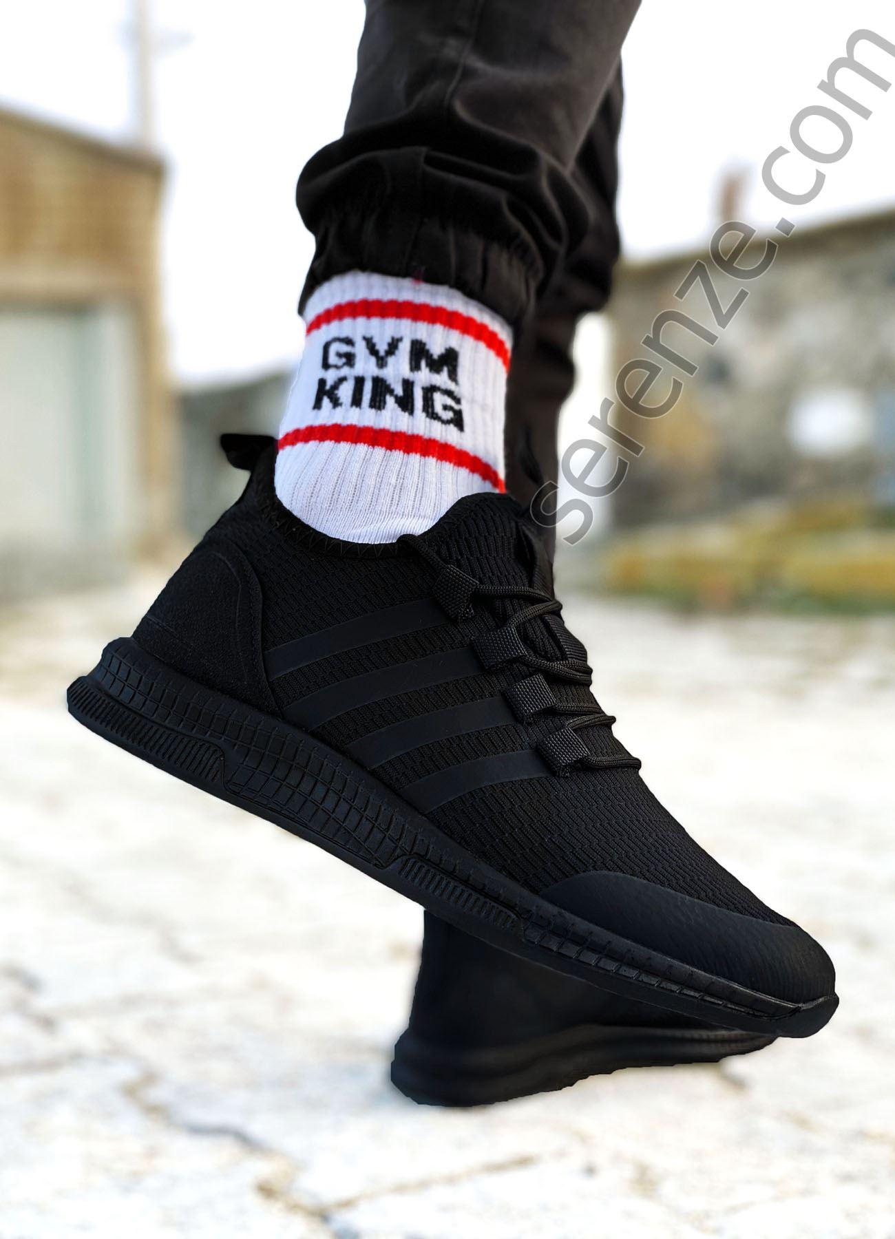 Siyah Çizgili Ultra Hafif Triko Erkek Spor Ayakkabı