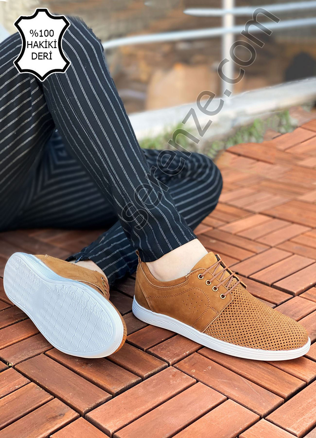 Taba Hakiki Deri Delikli Spor Model Erkek Ayakkabı
