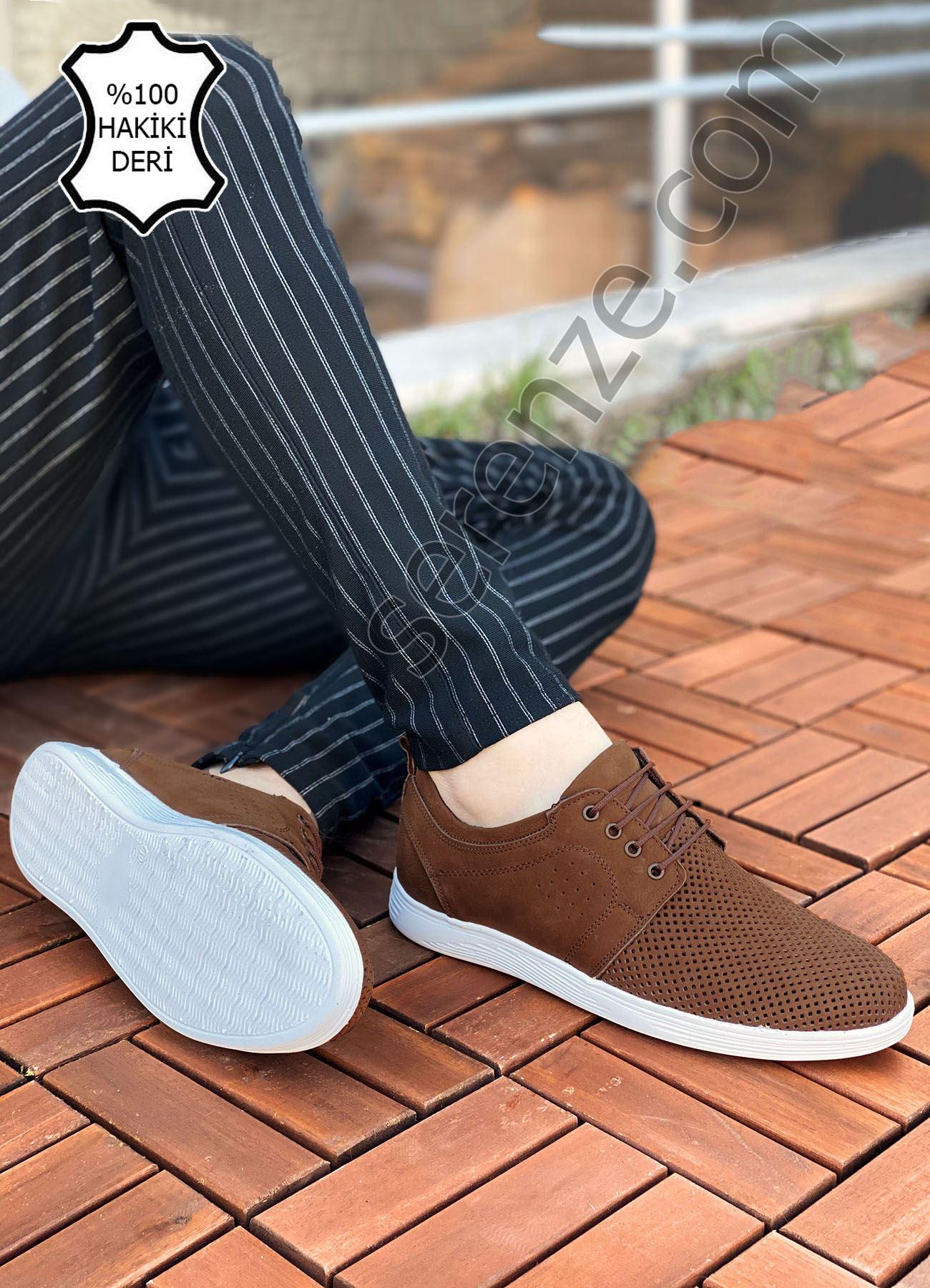 Kahve Hakiki Deri Delikli Spor Model Erkek Ayakkabı