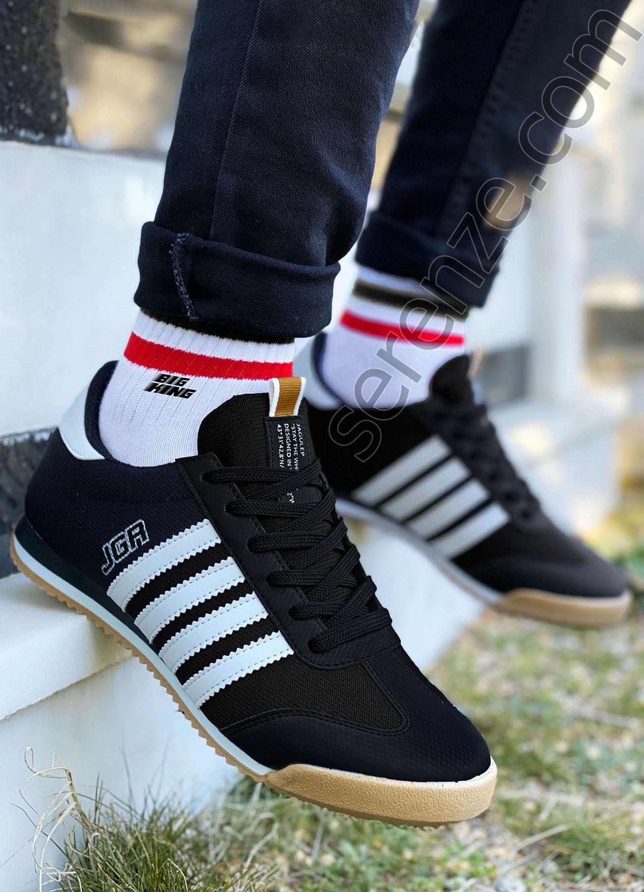 Siyah Beyaz Çizgili Erkek Spor Ayakkabı