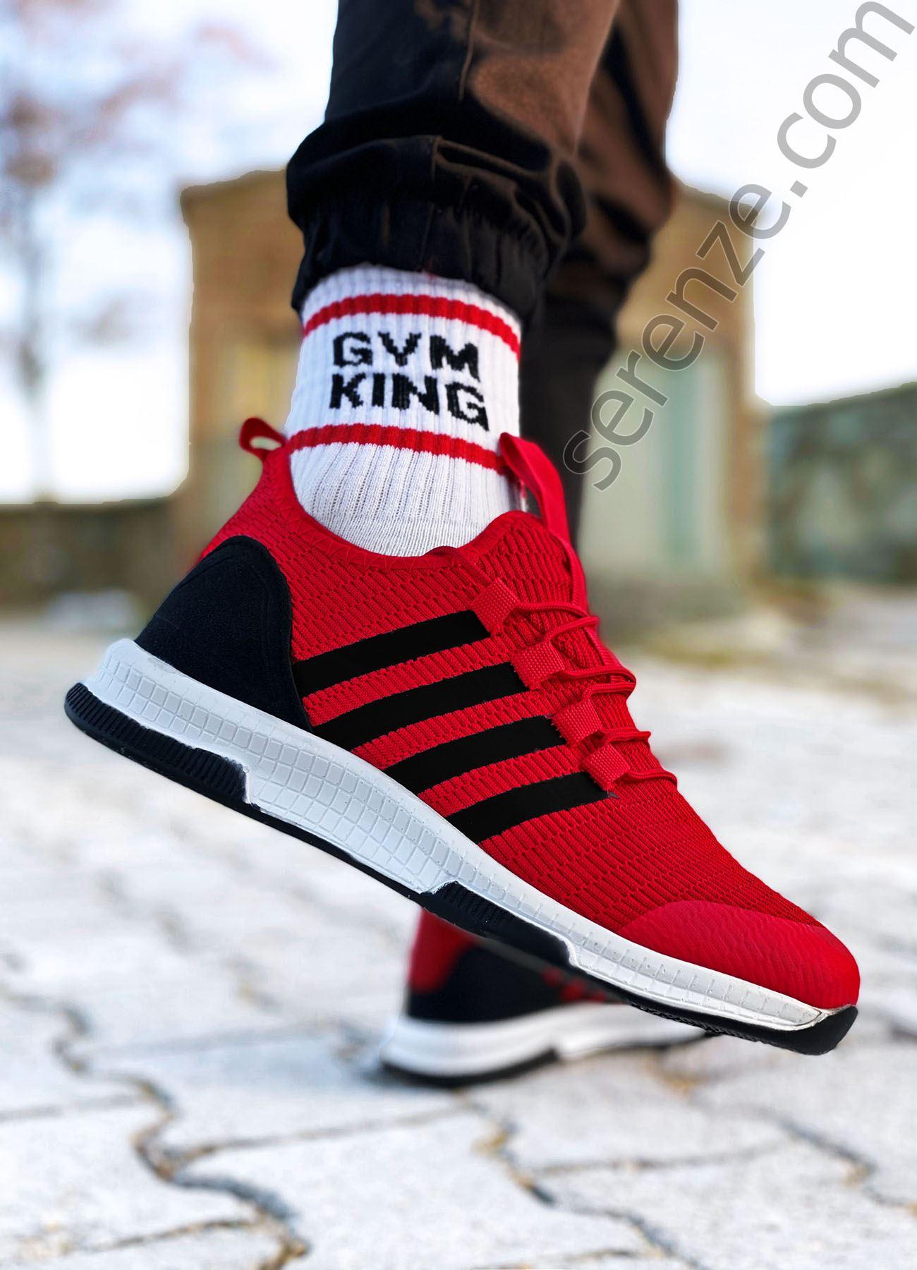 Kırmızı Çizgili Ultra Hafif Triko Erkek Spor Ayakkabı