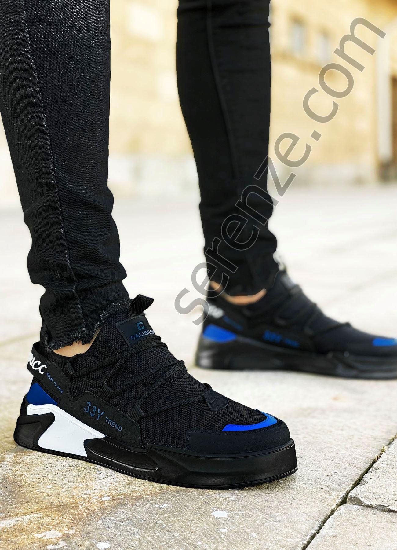 Siyah Mavi Triko Erkek Spor Ayakkabı