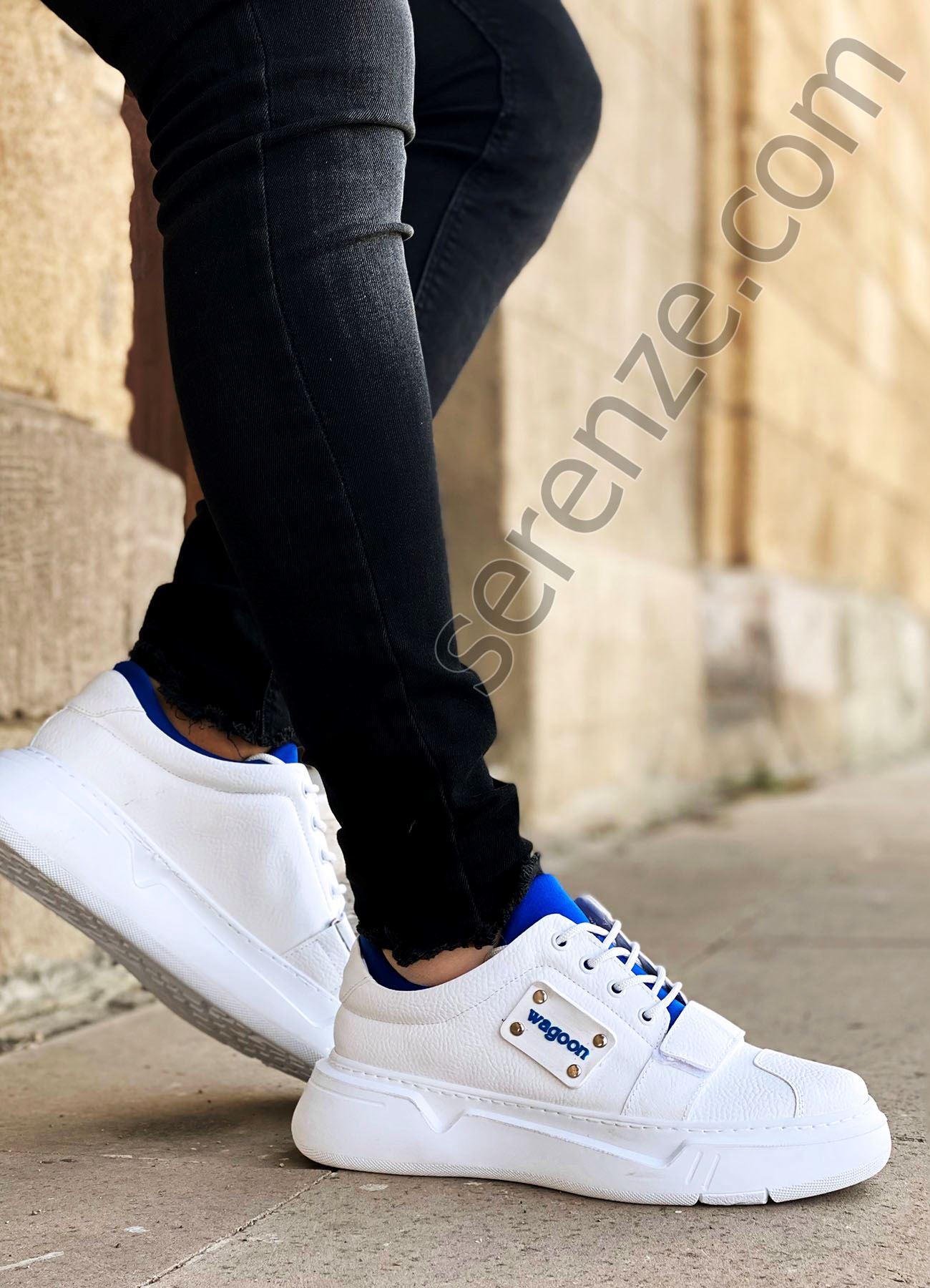 Beyaz Mavi Cırtlı Erkek Spor Ayakkabı