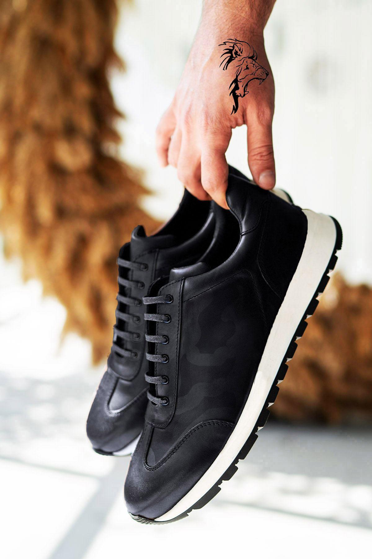Siyah Beyaz Kamuflaj Hakiki Deri Erkek Spor Ayakkabı