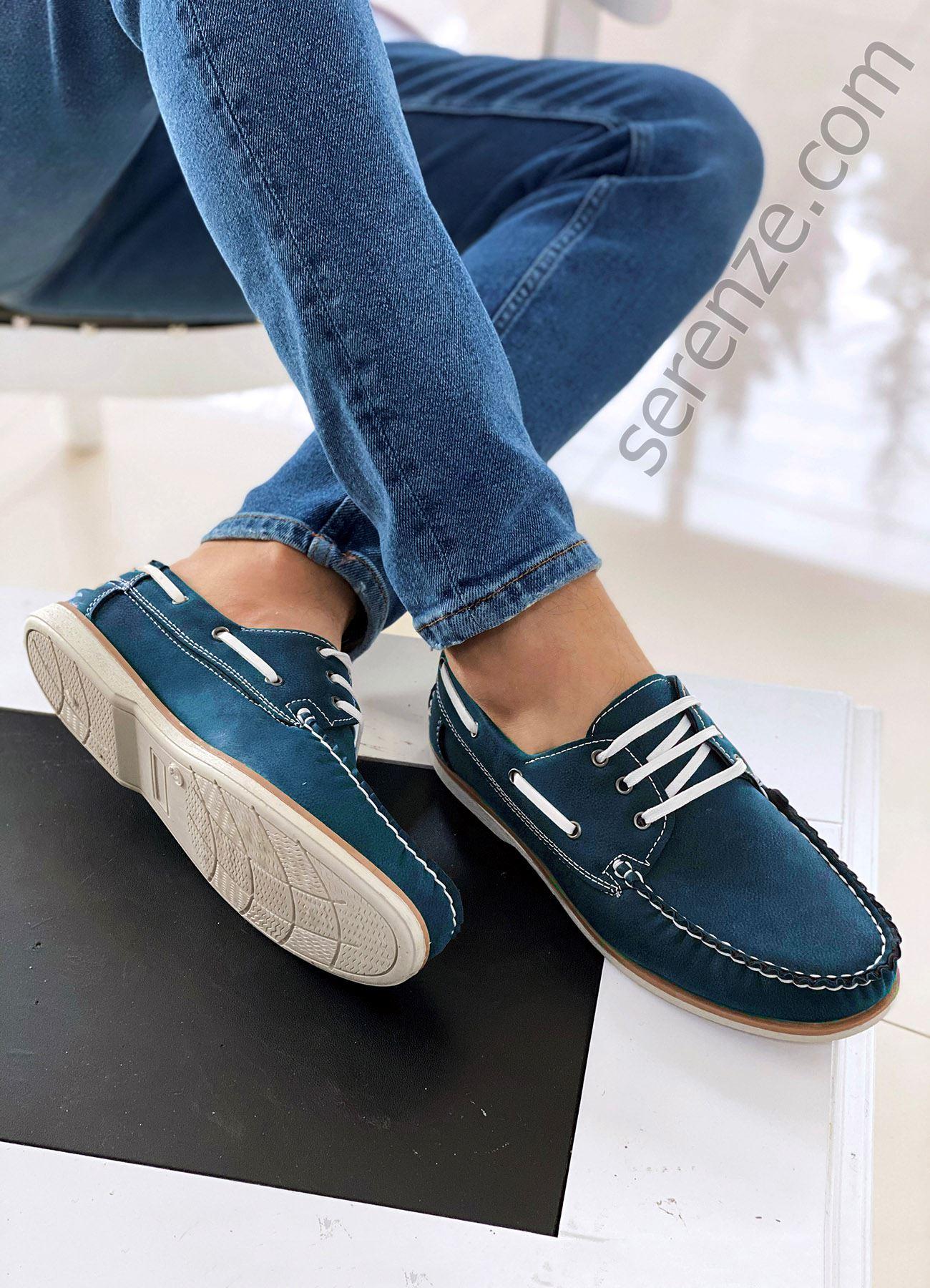 Mavi Bağcıklı Erkek Klasik Ayakkabı