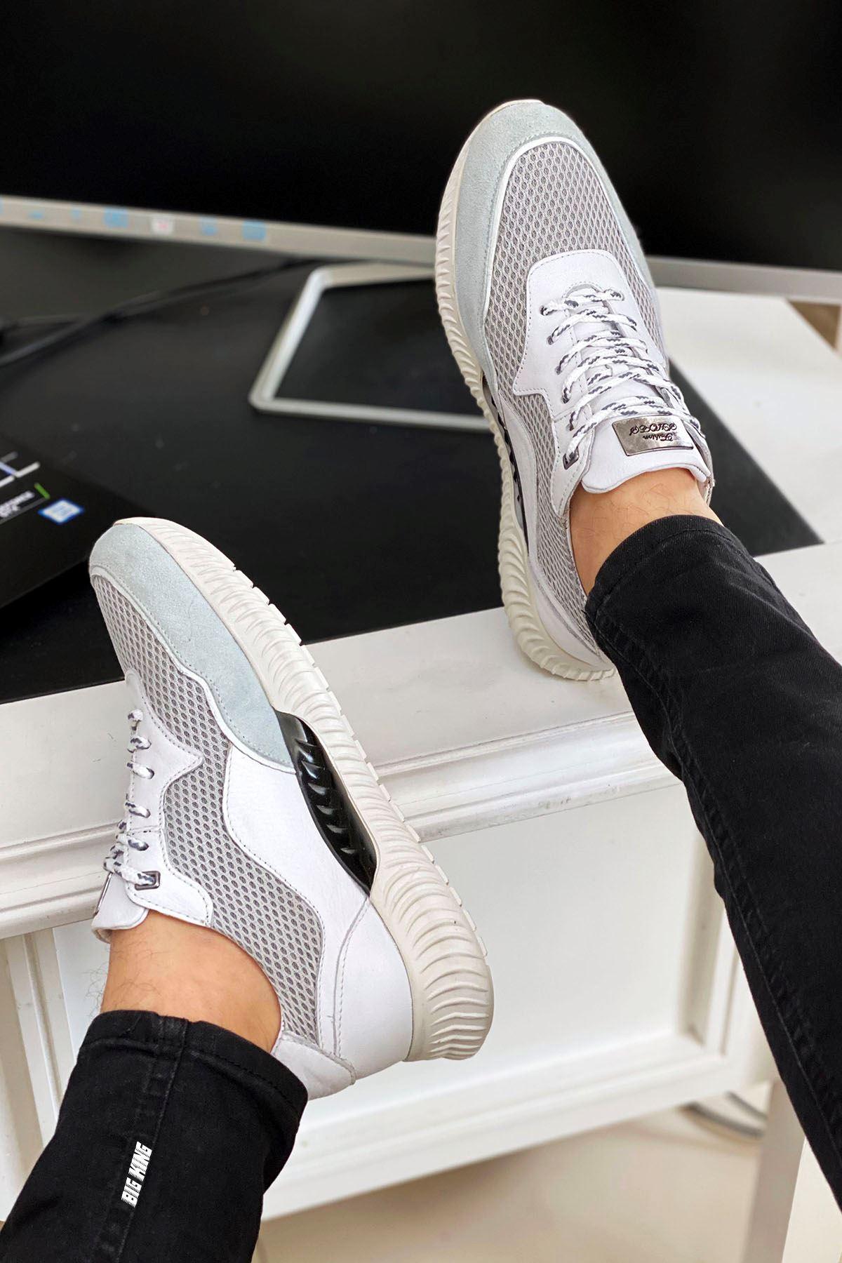 Beyaz Hakiki Deri Erkek Spor Ayakkabı