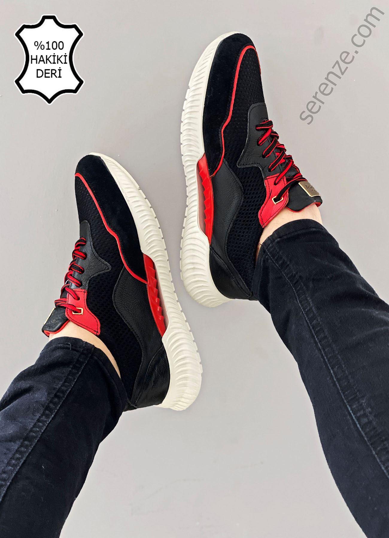 Siyah Kırmızı Hakiki Deri Erkek Spor Ayakkabı