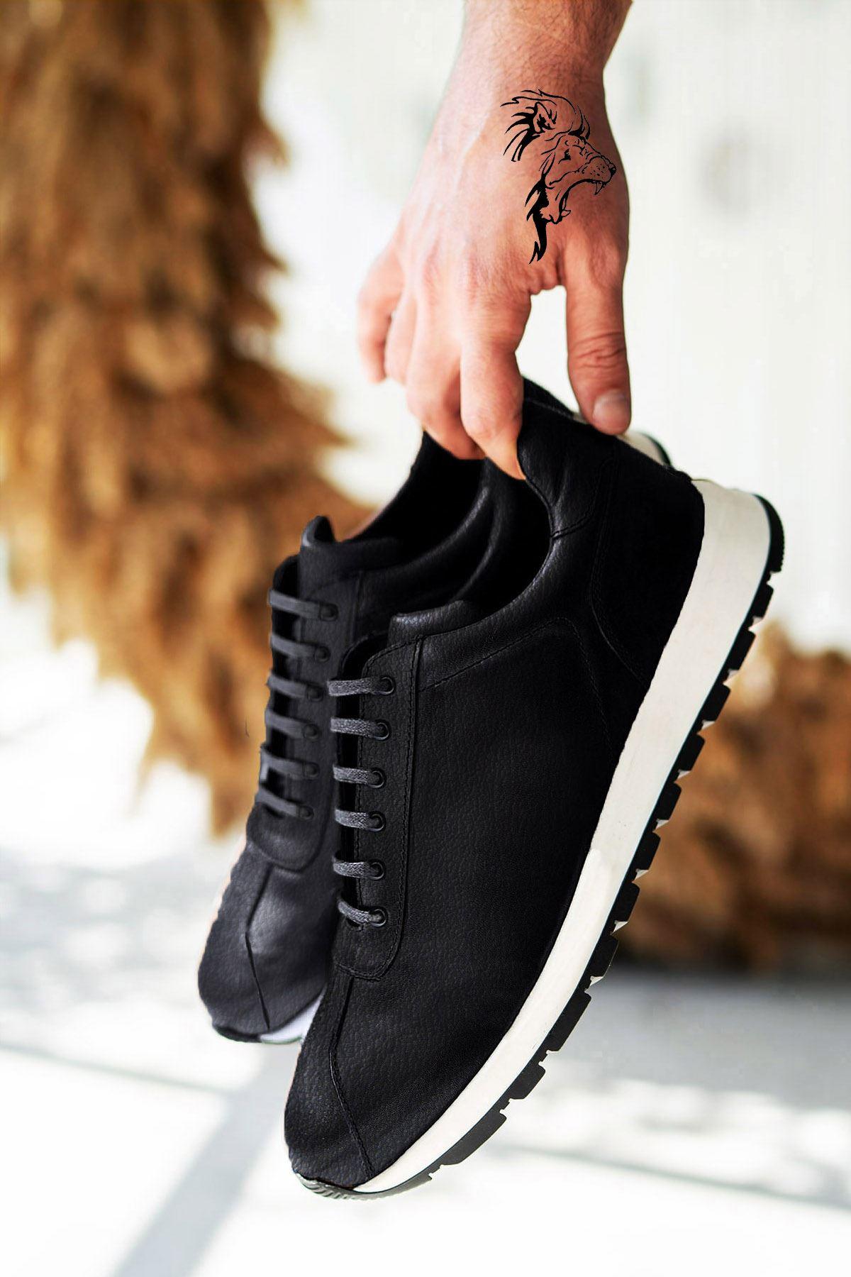 Siyah Beyaz Hakiki Deri Erkek Spor Ayakkabı