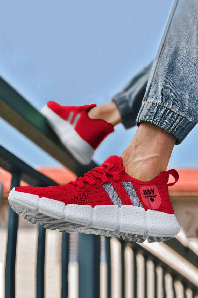 Kırmızı Çizgi Detay Erkek Triko Spor Ayakkabı
