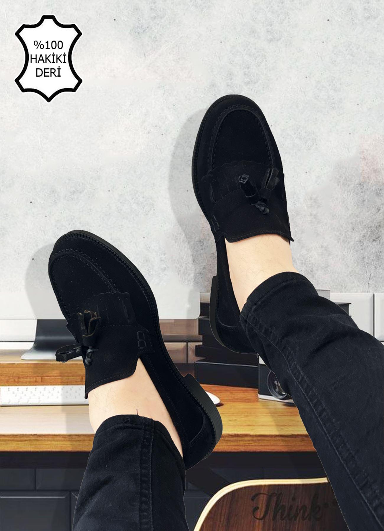 Siyah Süet Hakiki Deri Püsküllü Corcik Ayakkabı
