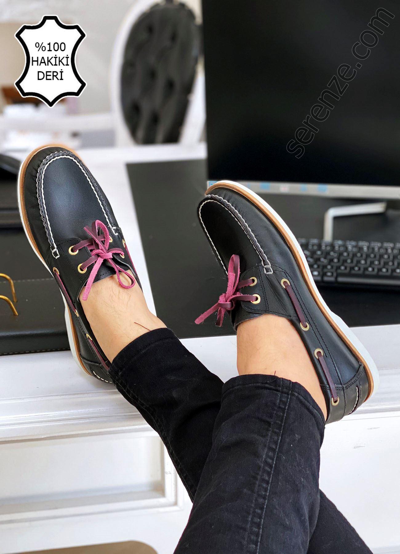 Siyah Hakiki Deri  Corcik Ayakkabı