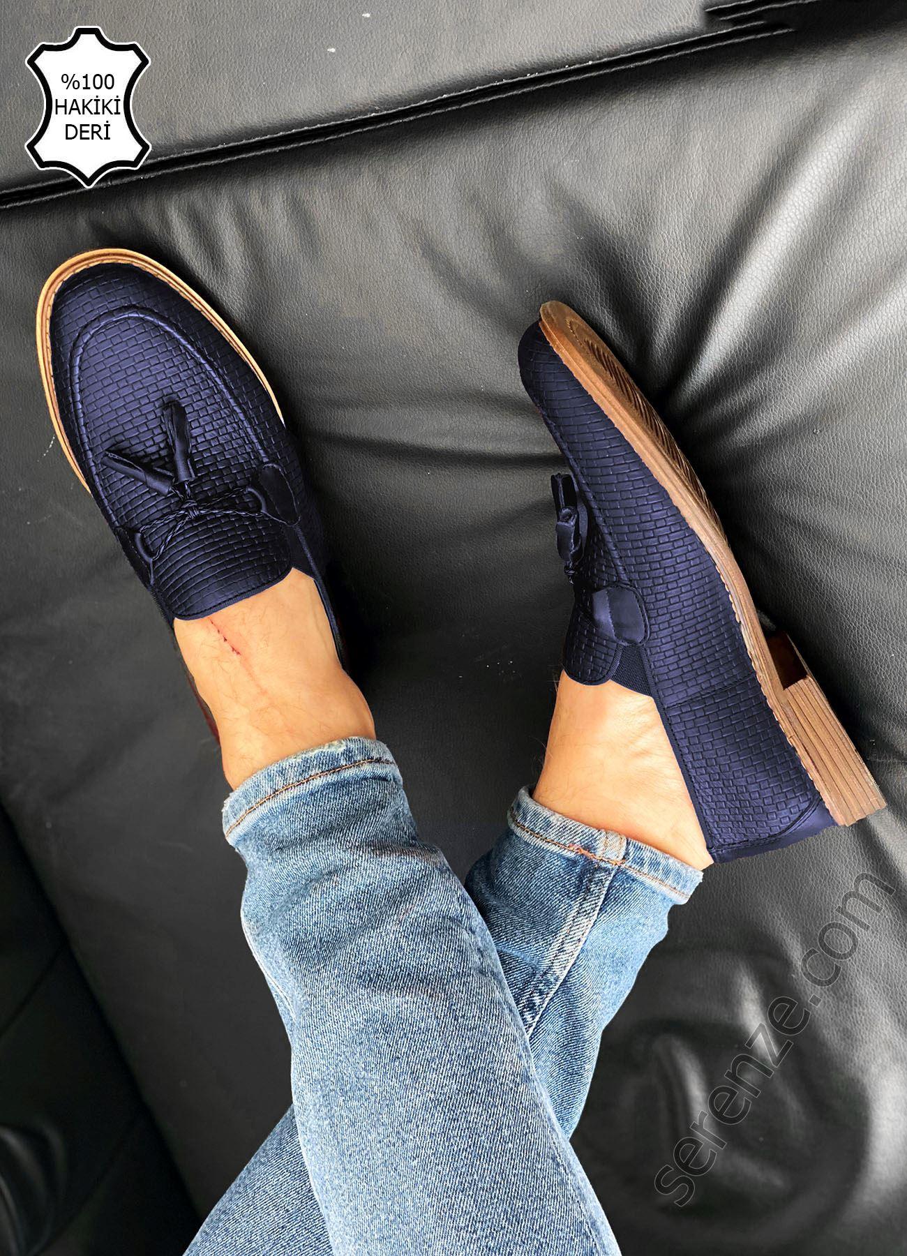 Lacivert Desenli Hakiki Deri Püsküllü Erkek Klasik Ayakkabı