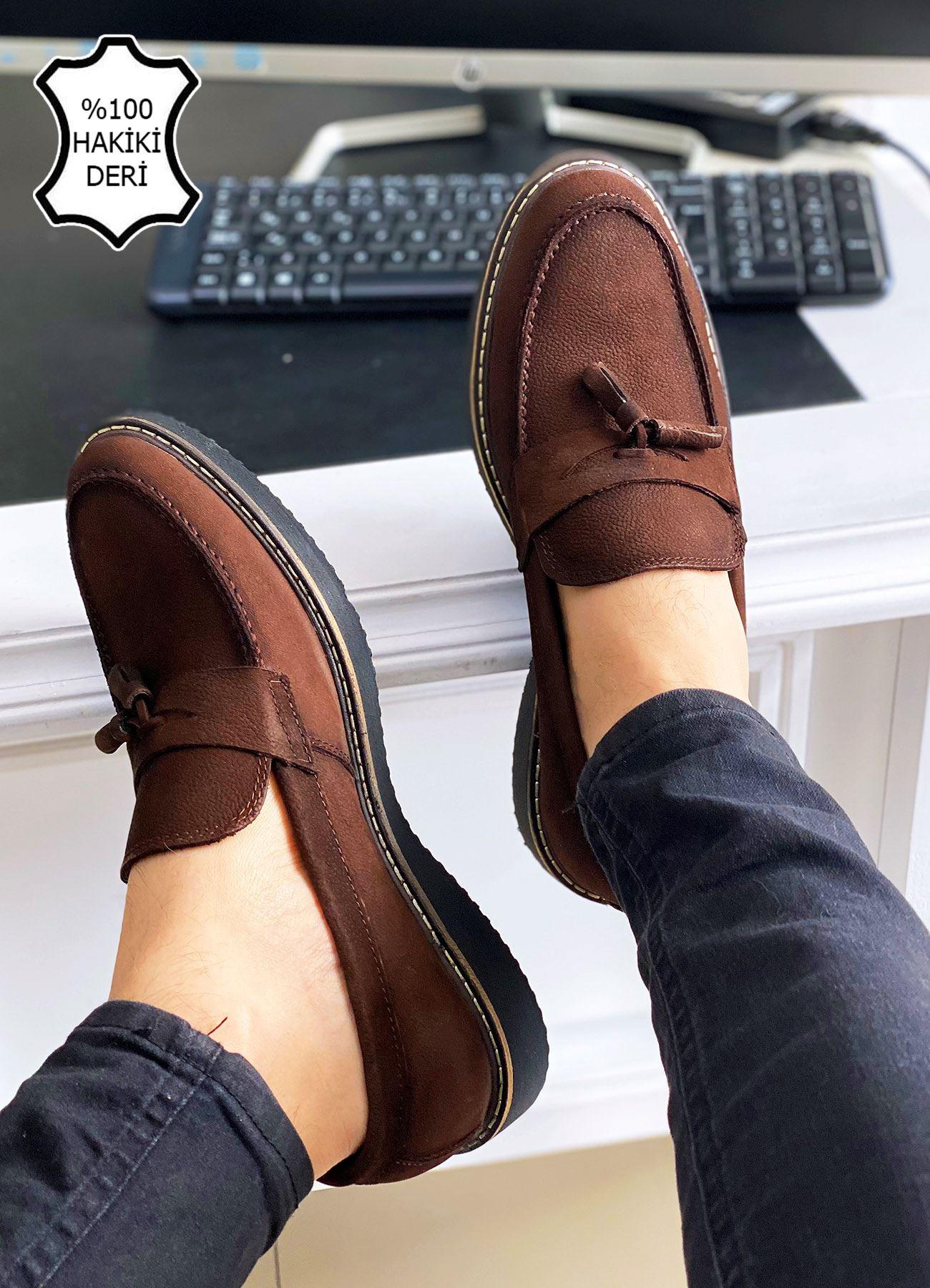 Kahve Nubuk Hakiki Deri Püsküllü Erkek Klasik Ayakkabı