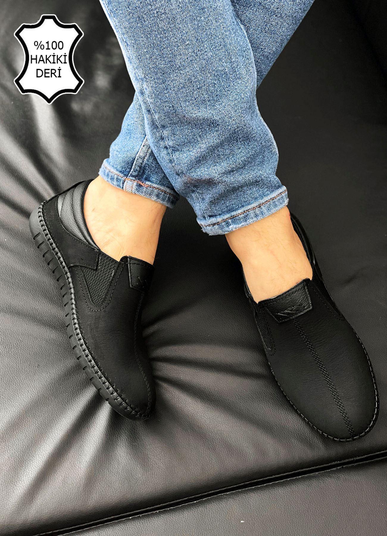 Siyah Hakiki Deri Ortopedik Çarık Ayakkabı