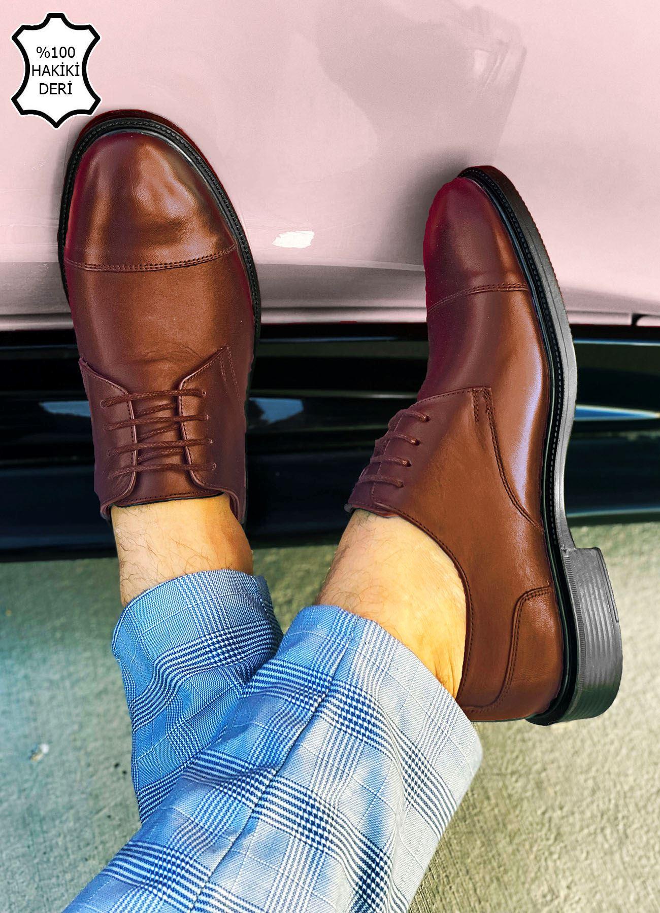Kahve Hakiki Deri Erkek Klasik Ayakkabı